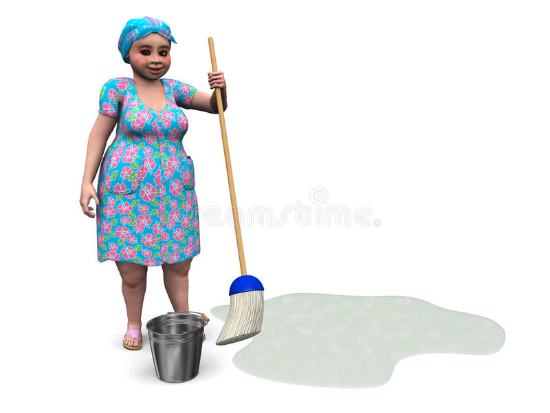 Download Lady Ready To Mop The Floor. Stock Illustration - Image: 18392416