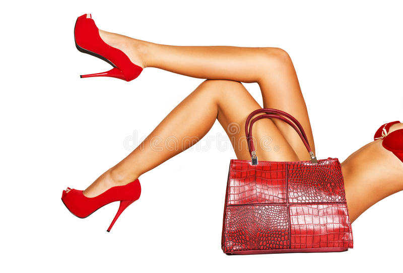 Lady in red. stock photography