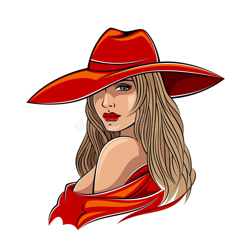 Lady in red stock illustration