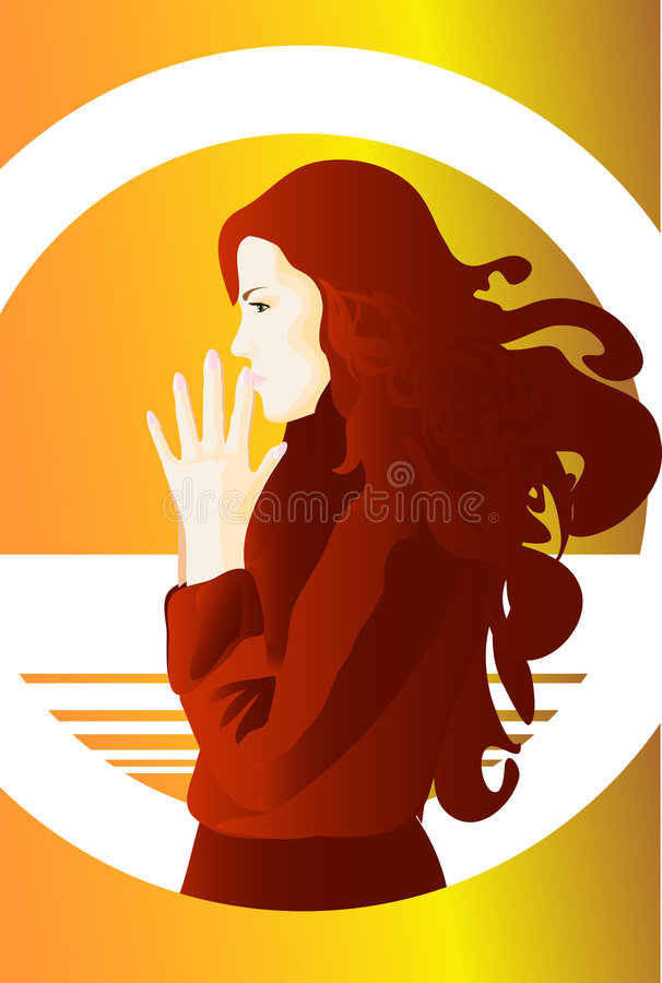 LADY IN RED. This image is a vector illustration and can be scaled to any size without loss of resolution. This image will download as a .eps file. You will need royalty free illustration