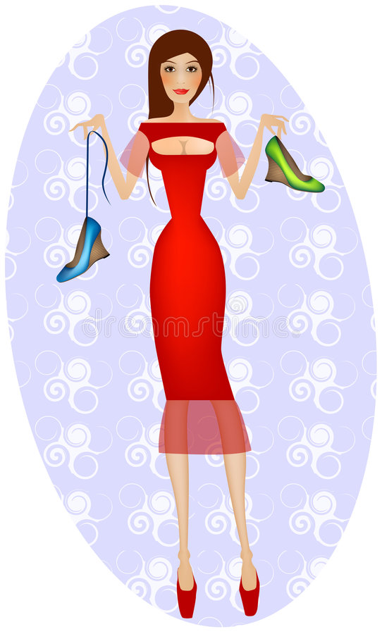 Lady in red buying shoes stock image