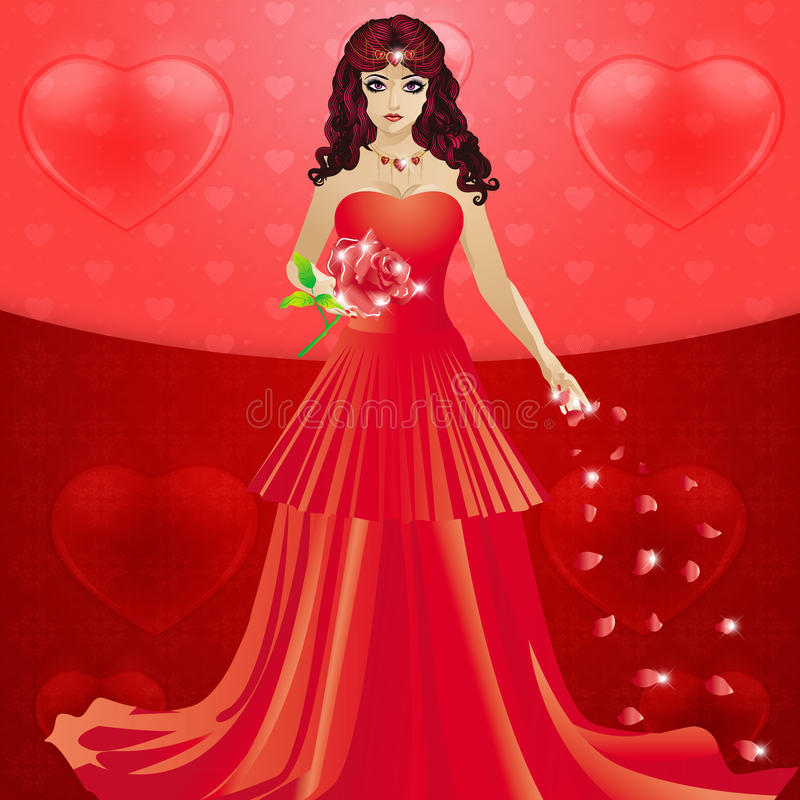 Lady in red dress with hearts. Illustration of lady in long red dress and rose petals on hearts background stock illustration