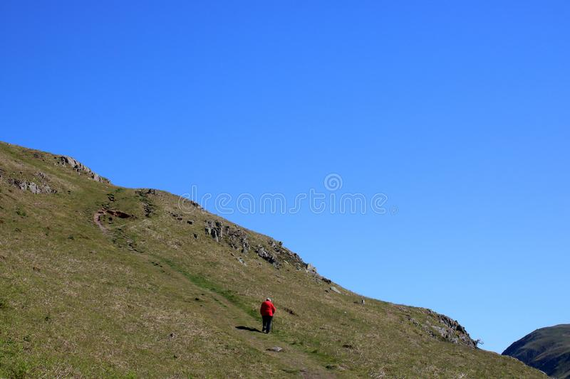 Lady in red jacket walking, hillside path, Cumbria royalty free stock image