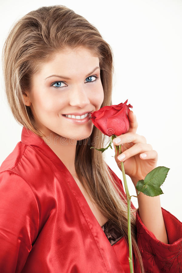 Lady with red rose royalty free stock photo