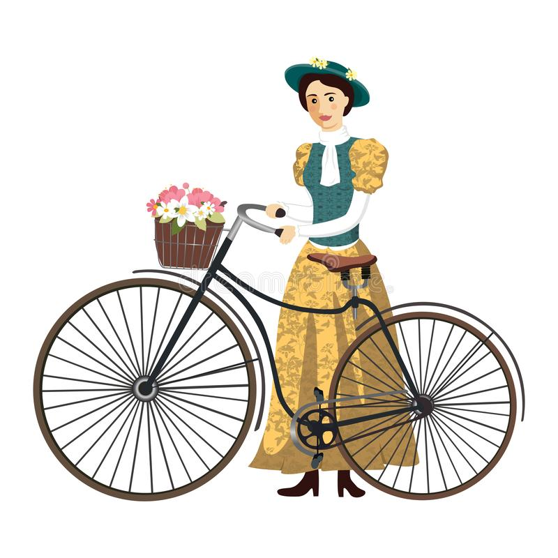 Lady on a retro bicycle with hat and basket vector Illustration isolated royalty free stock image