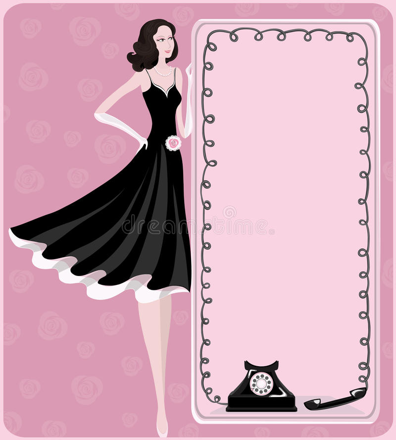 Lady and retro phone. Fashionable lady and telephone conversation. A scenic retro image of expectation of phone call. Vector illustration vector illustration