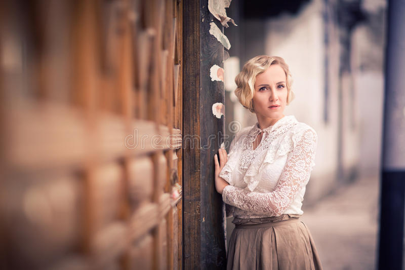 Lady in retro style royalty free stock photo