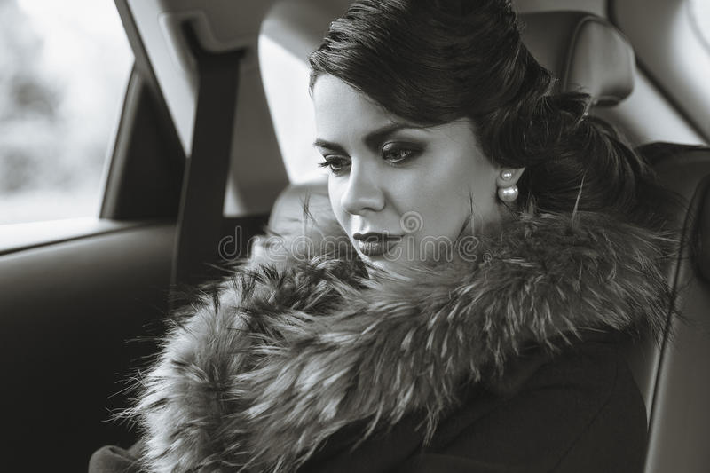 The lady in retro style. stock photography