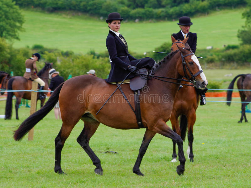 Lady riding side saddle. A lady riding in the side saddle class at the North Lonsdale Agricultural Show royalty free stock image