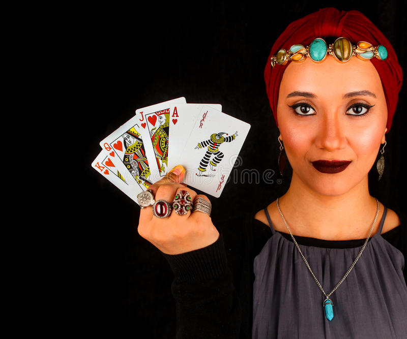 Lady of The Rings Holds All The Cards stock photo