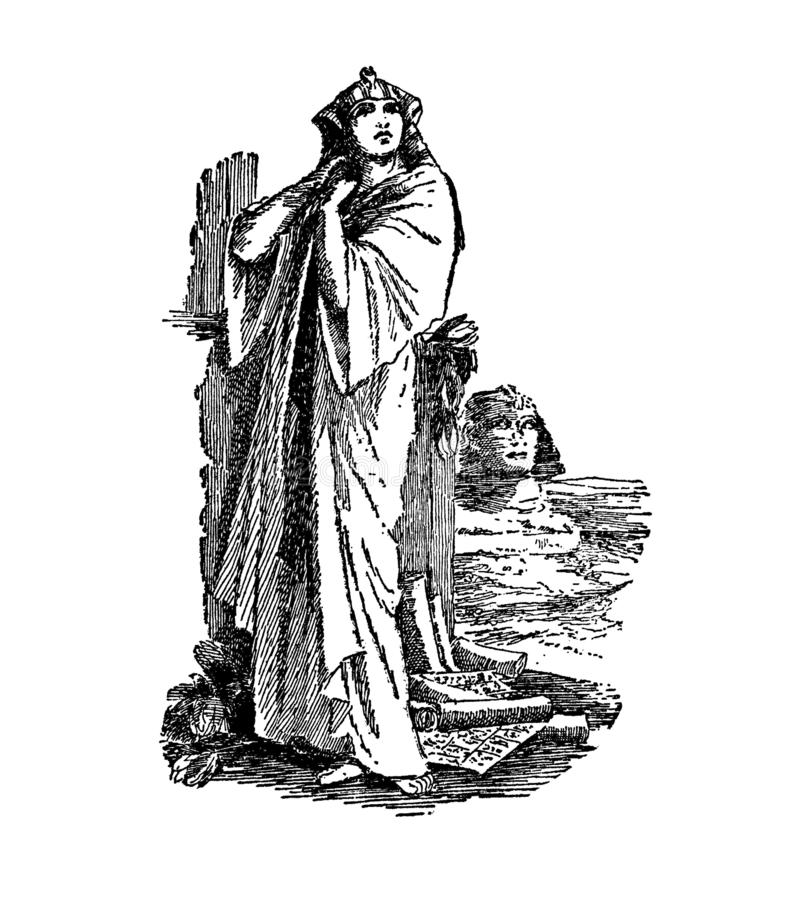 Lady in robe with sphinx clipart vintage Egyptian royalty free stock images