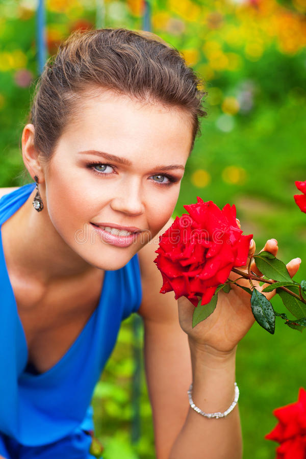 Lady with rose stock photo