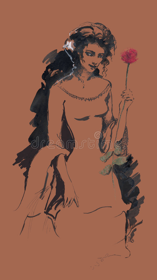 Download Lady with a rose stock illustration. Image of background - 7572884