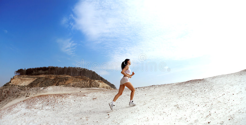 Download Lady running stock image. Image of alone, woman, leisure - 3347155