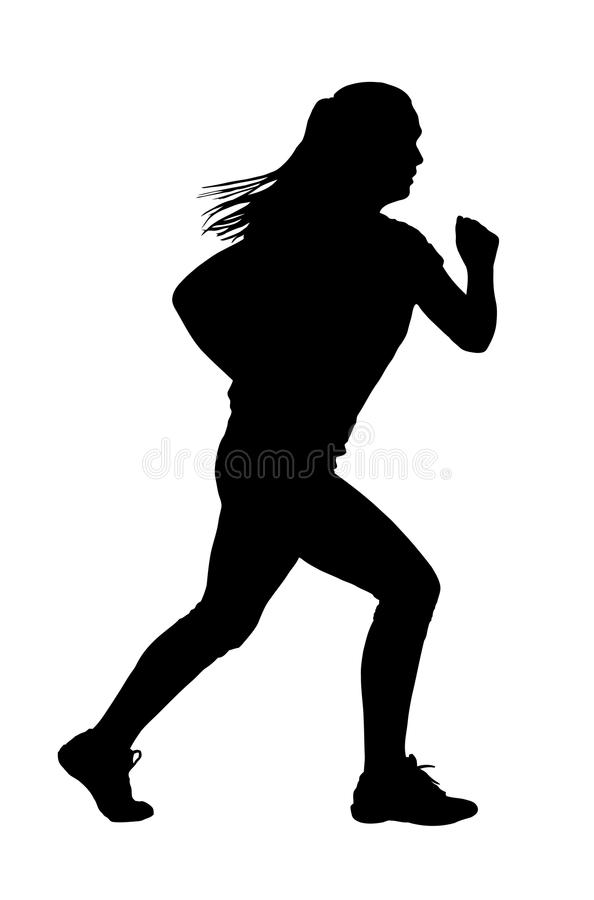 Lady Running Silhouette royalty free stock photos