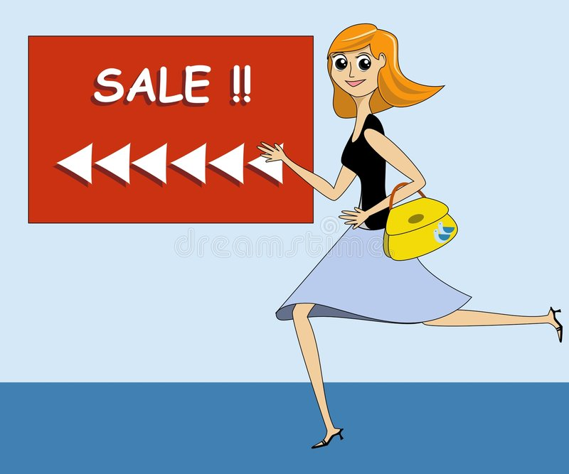 Lady Running Towards a Sale vector illustration
