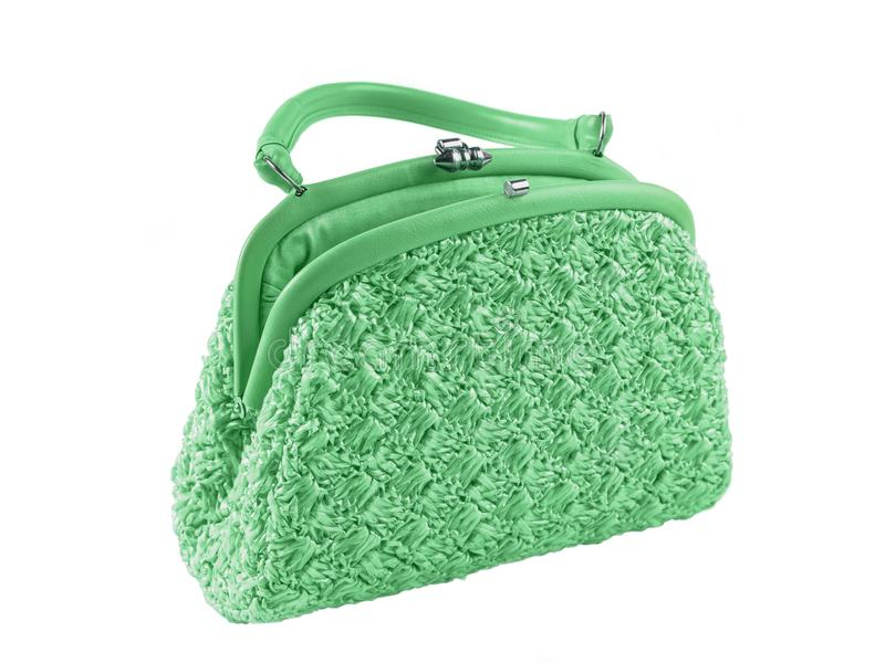 Lady`s hand bag green color stock photo