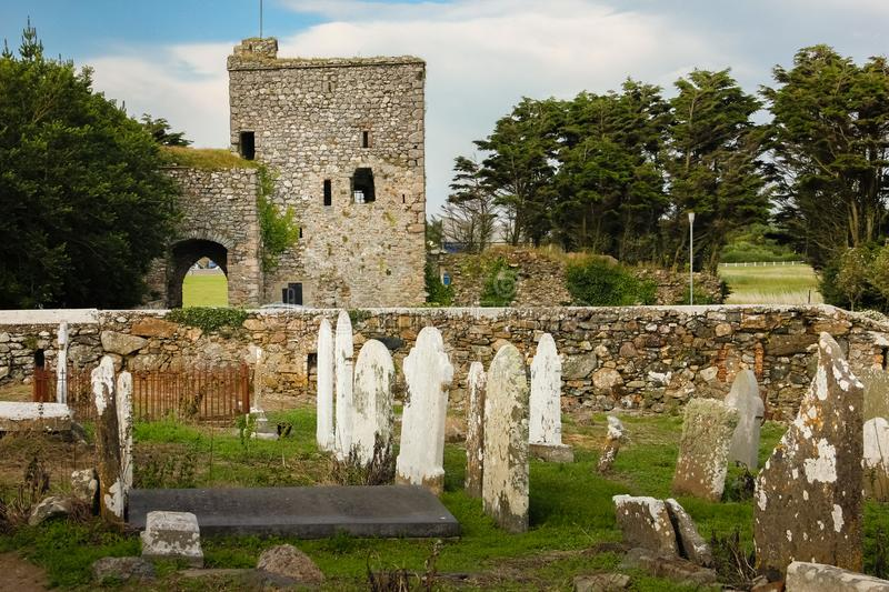 Our Lady`s Island Castle. county Wexford. Ireland. Our Lady`s Island Castle and graveyard at saint Abban`s church. county Wexford. Ireland royalty free stock photo