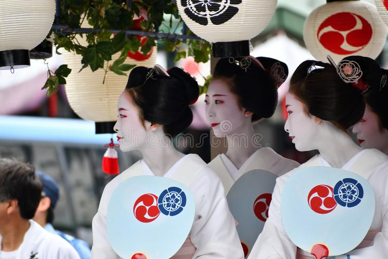 Lady`s Parade of Gion festival, Kyoto Japan. Picture of Gion festival`s flowery parade in Japanese traditional costume, Kyoto Japan summer stock photography