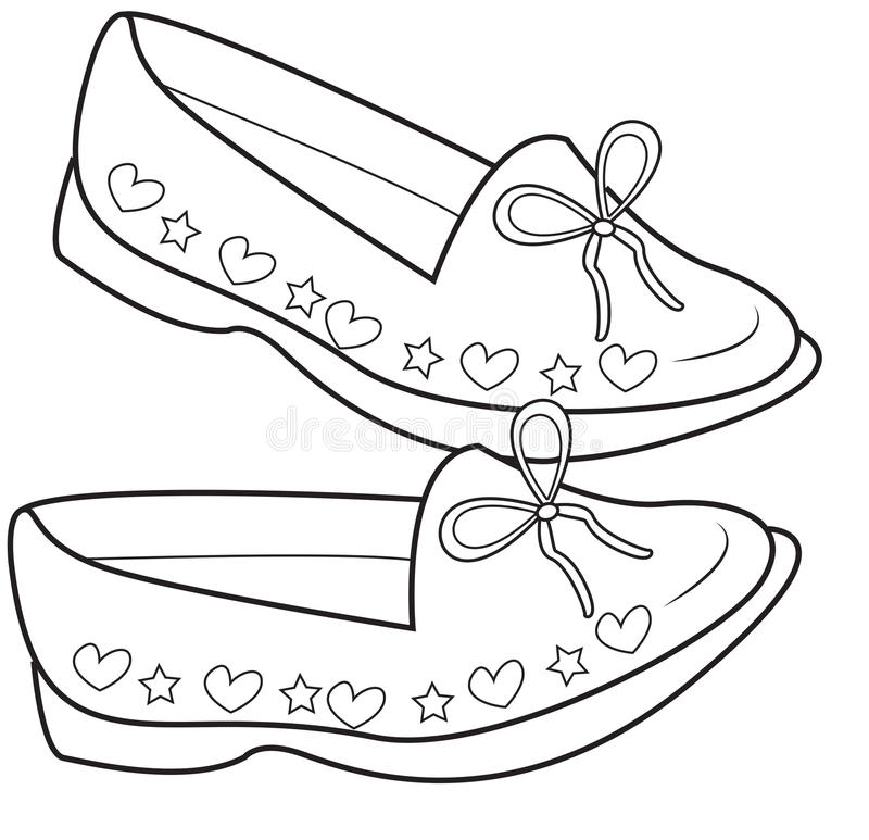 Lady\'s shoes coloring page stock illustration. Illustration of ...
