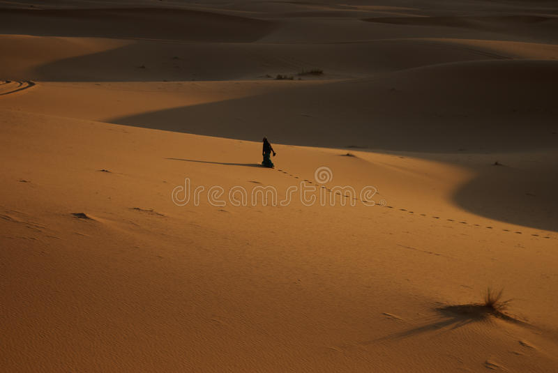Lady in the Sahara stock photography