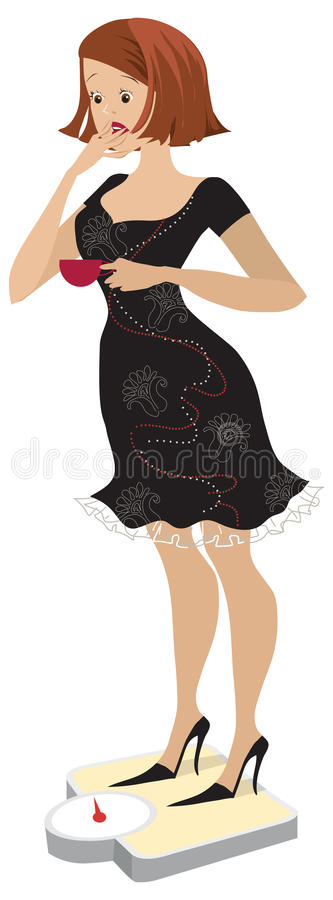 Download Lady on scales3 stock vector. Image of normal, dieting - 10956894