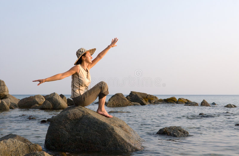 Lady and sea royalty free stock photos