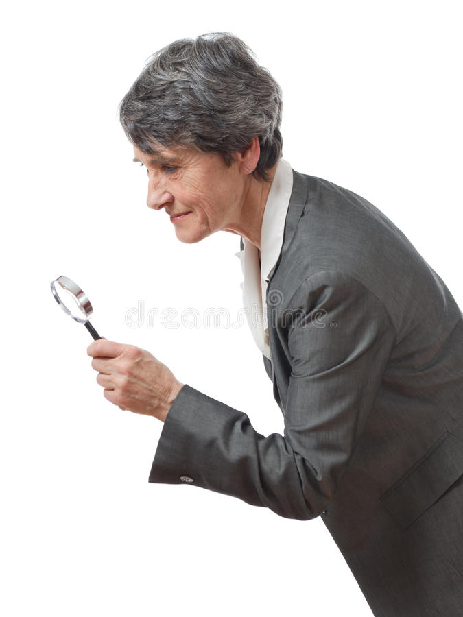 Download Lady searching stock image. Image of magnifier, suit - 25566843