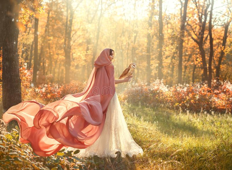 lady in shiny white dress and peach pink cloak with long train and hood royalty free stock images