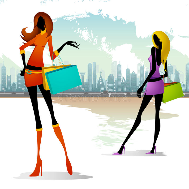 Download Lady with Shopping Bag stock vector. Image of glamour - 25263063