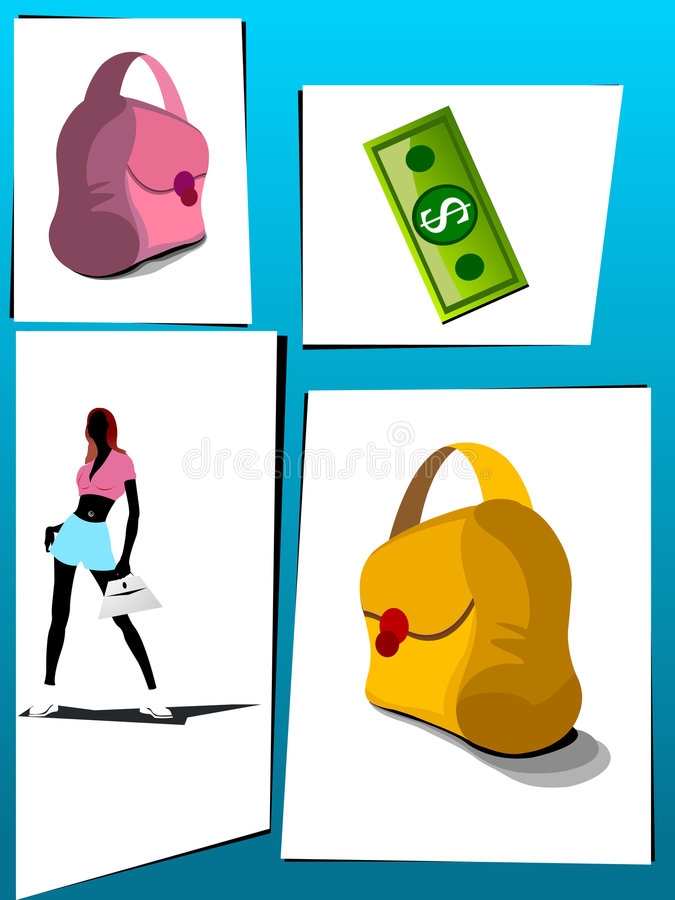 Download Lady with shopping things stock illustration. Image of package - 5451047