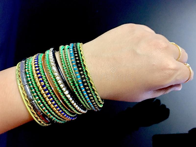 Lady. Showing Her Hand With Beautiful Bangles Stock Photo - Image ...