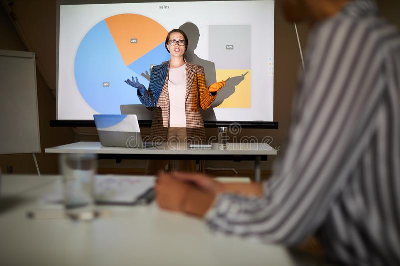 Lady showing presentation on sales plan royalty free stock image