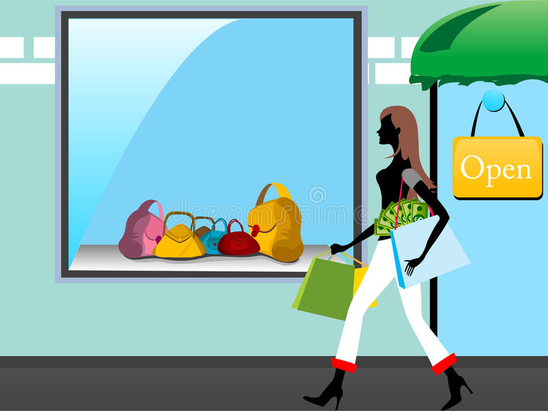 Download Lady on showroom stock illustration. Image of quality - 5451052
