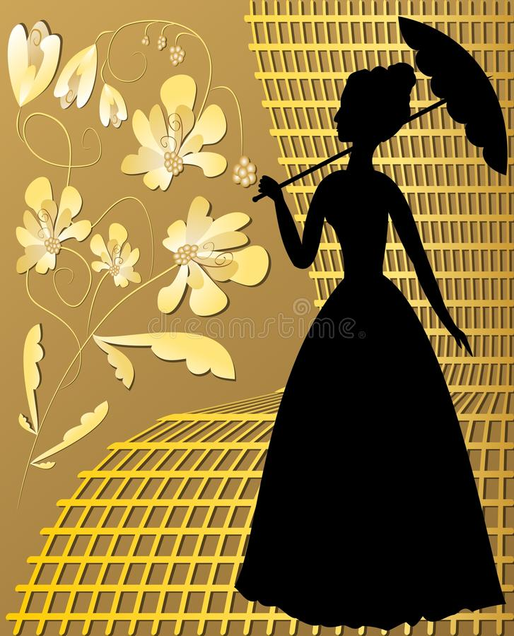 Lady silhouette with golden vintage flowers on golden grid vector illustration