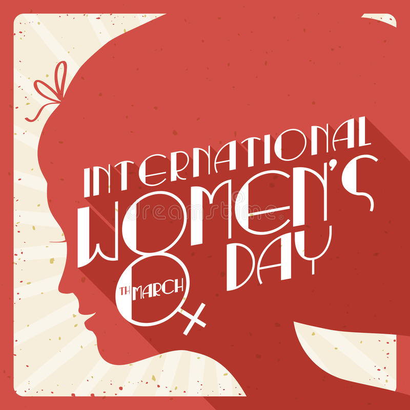 Lady Silhouette in Retro Poster for Women's Day, Vector Illustration stock photography