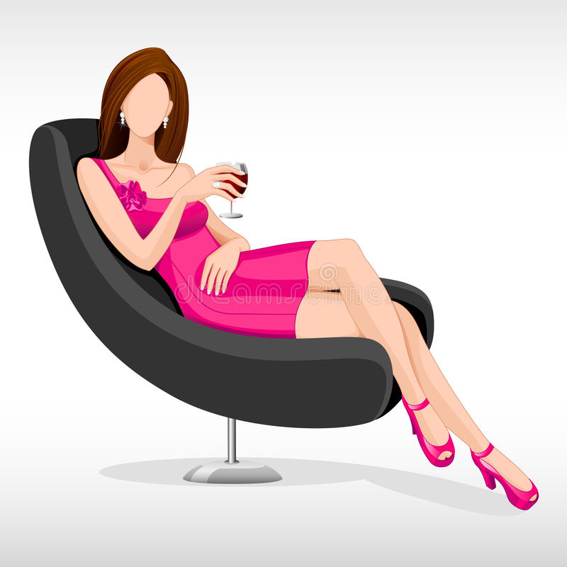 Download Lady sitting in Couch stock vector. Image of human, face - 25853392