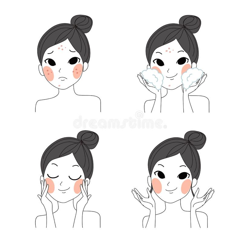 Lady skin Step facial cleansing. Step facial cleansing, facial acne treatment, face healthy and look younger royalty free illustration