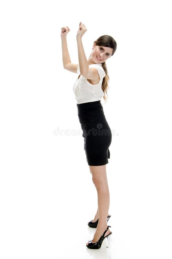 lady som visar le segra för tecken arkivfoton
