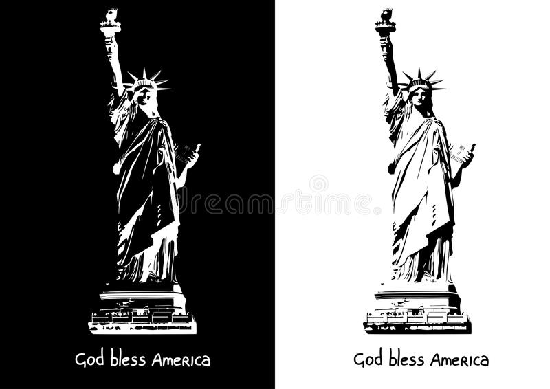 The statue of Liberty New York Independence eps ai jpg vector image black and white silhouette vector illustration