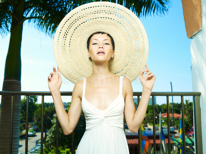 Download Lady in straw hat stock photo. Image of recreational - 24041476