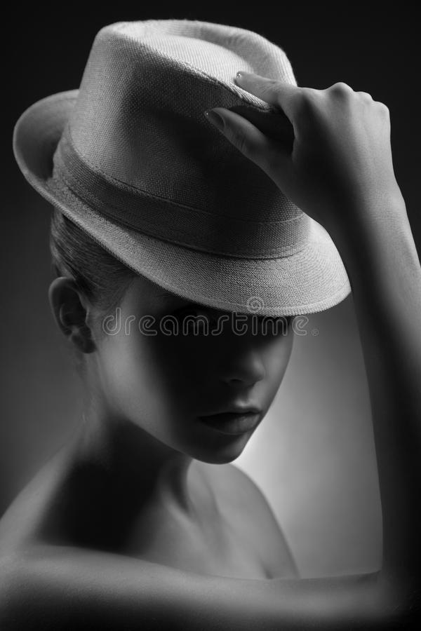 Lady stylish bw portrait in retro style royalty free stock photography