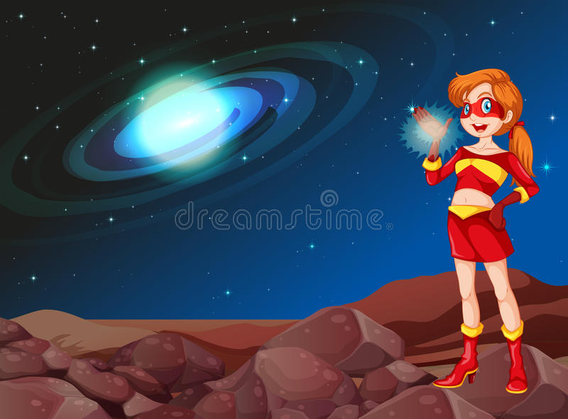 A lady superhero at the outerspace. Illustration of a lady superhero at the outerspace royalty free illustration