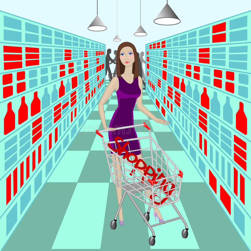 Lady in supermarket with cart and word Shopping inside it. On background vector illustration