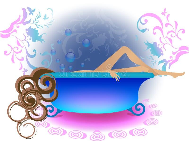 Lady taking a bath royalty free illustration