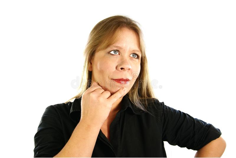 Download Lady Thinking stock image. Image of blouse, chin, business - 4048113