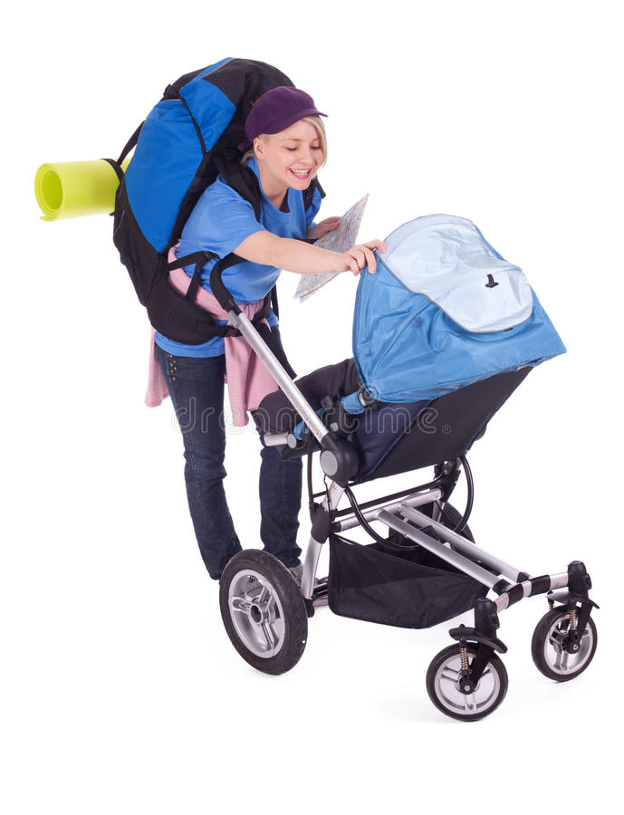 Lady tourist and baby buggy royalty free stock photo