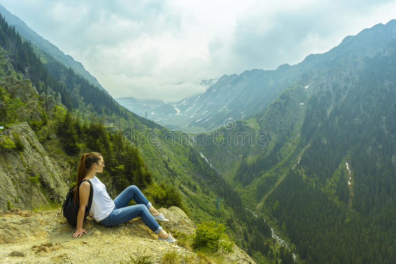 Lady tourist with backpack royalty free stock photo