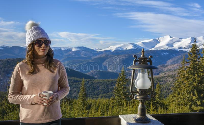 Lady tourist on mountain stock photos