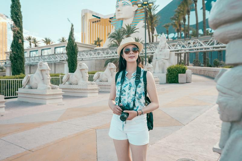 Lady tourist sightseeing sphinx in las vegas. royalty free stock images